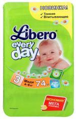 Подгузники Libero EveryDay с ромашкой (4-9 кг) 74 шт.
