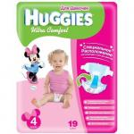 """Подгузники Huggies """"Ultra Comfort"""" 4 для девочек 8-14 кг, 19 шт"""