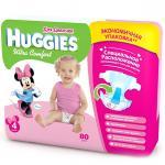 Подгузники Huggies Ultra Comfort для девочек 4 8-14кг 80шт